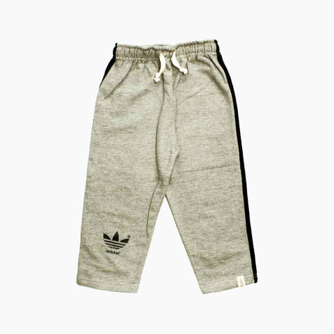 Adidas Boys Fleece Heather Grey Trouser with Back Piping