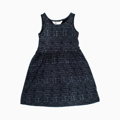HnM Premium Cotton Black Slub Stripes Girls Dress