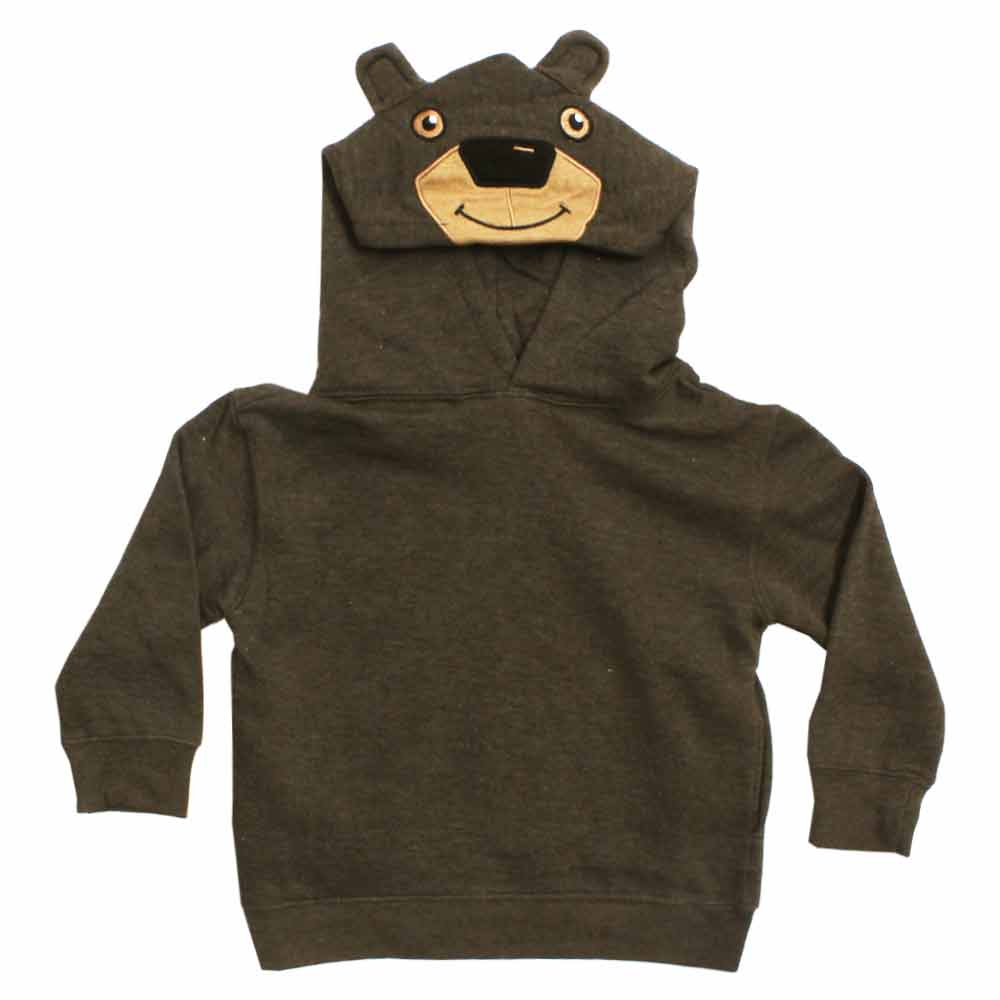Bear Applique Brown Cotton Fleece Fashion Hoodie