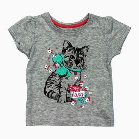 Love Being me Cat print Girls Heather Grey Thsirt