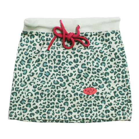Green Leopard Print fron Pockets Girls Cotton Skirt