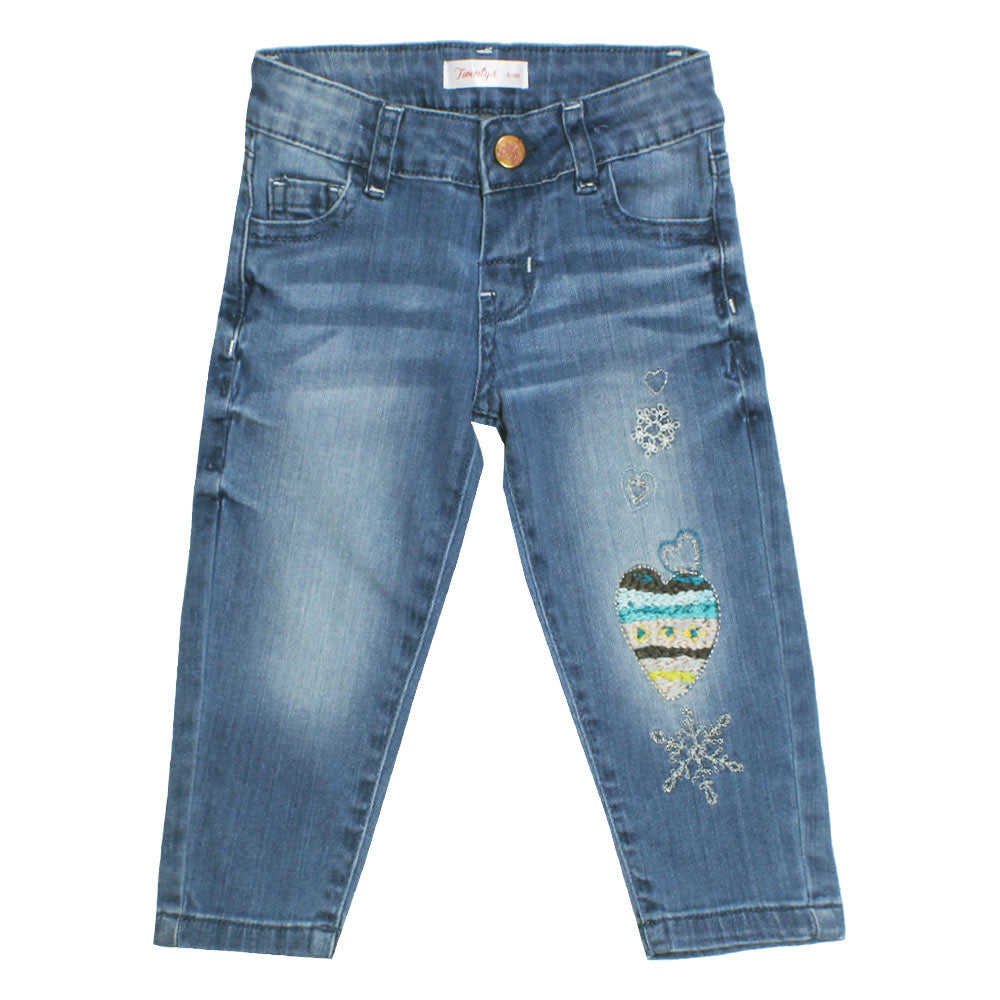 TWENTY 4 Heart Embroidery Blue Girls Denim Jeans