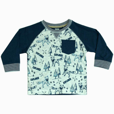 Explorer All over priint Boys Raglan Tshirt