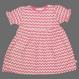 Lolly Wolly Small Baby Pink Zig Zag Girls Cotton Dress