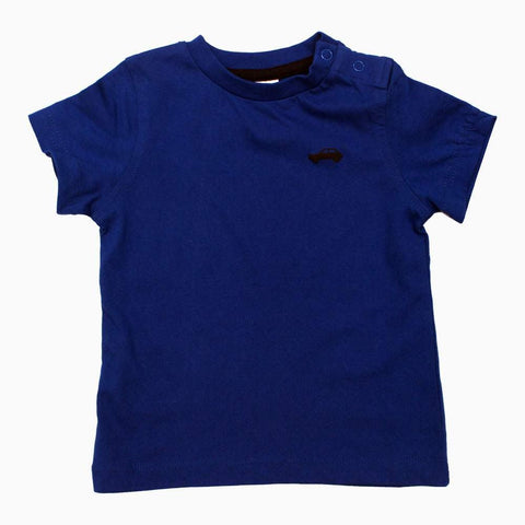 BABY CLUB Car Rubber Print Boys Navy Blue Tshirt
