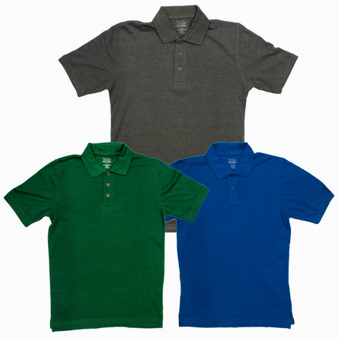 Foot Locker 3 Piece Grey Blue and Green Boys Solid Colour Pique Polo