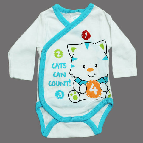 BABY CLUB Cats count Unisex Wrap Style Cotton Romper