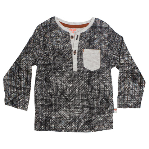 HEMA Front Pocket Grey Boys Cotton Tshirt