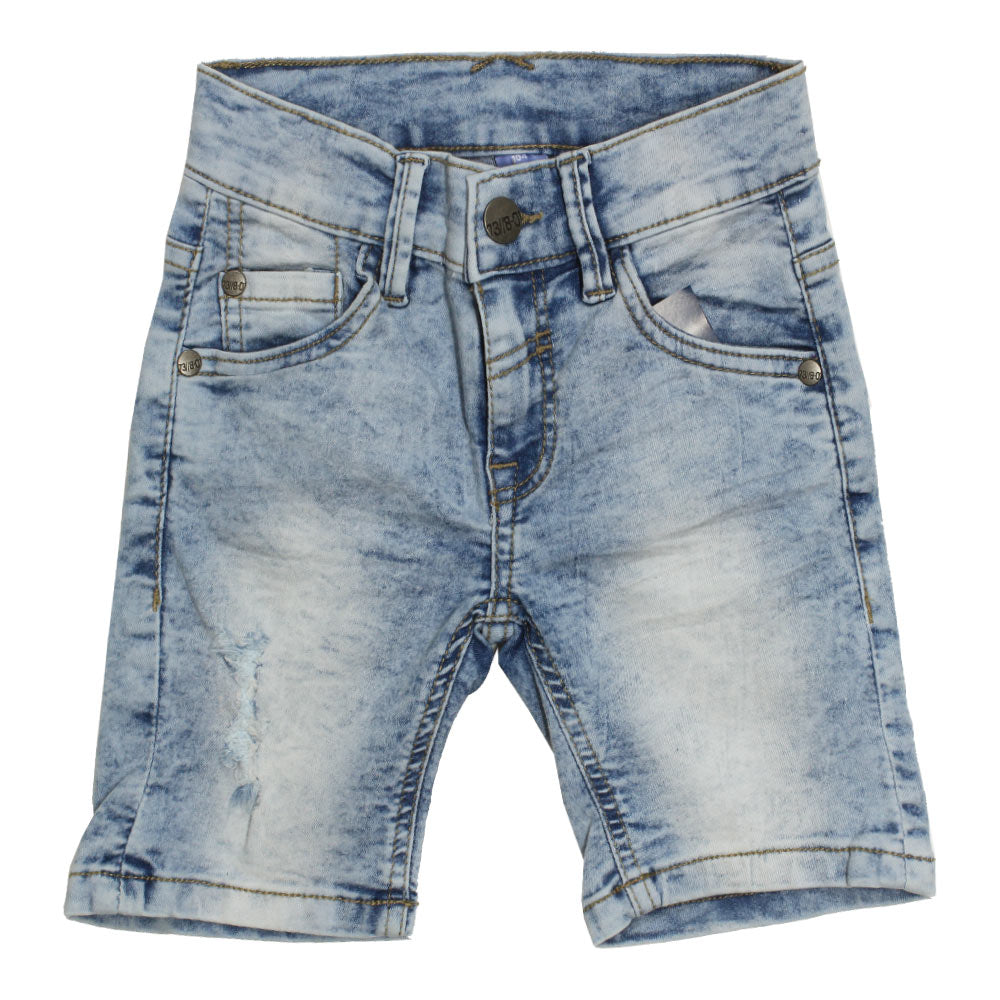 DOPO DOPO Sand Washed Heavy Ripped Light Blue Boys Denim Short