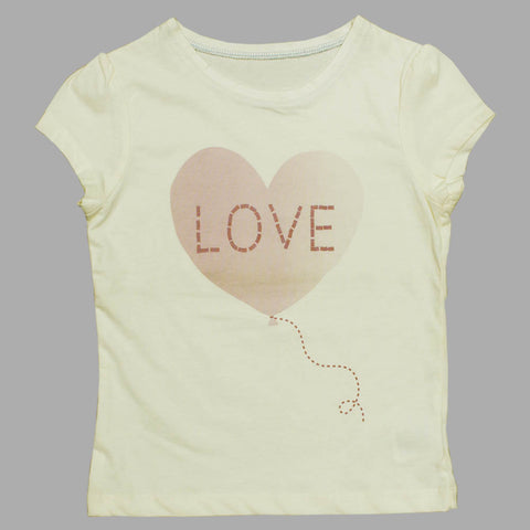 MOTHER CARE Love Baloon Off White Girls Premium Cotton tshirt