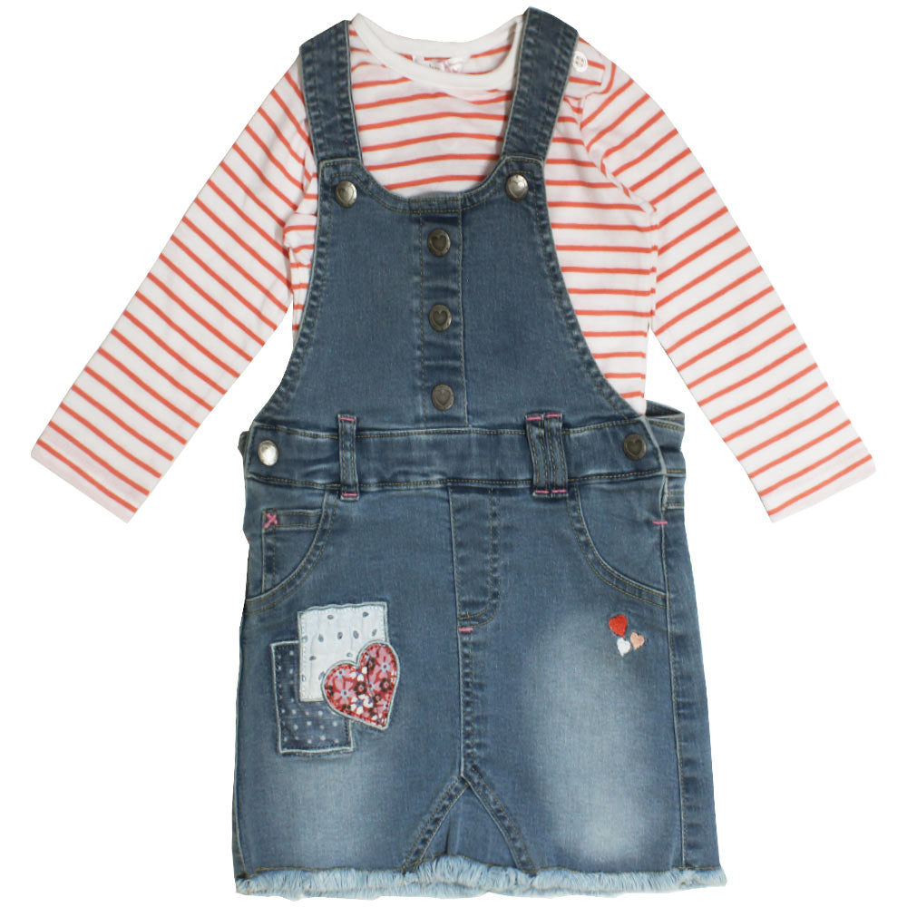 M And Co Heart Embroidery Blue Girls Denim Skirt Dungaree 2 Piece Set