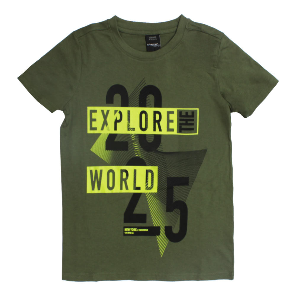 Chapter Young Explore World Green Boys Premium Cotton Tshirt