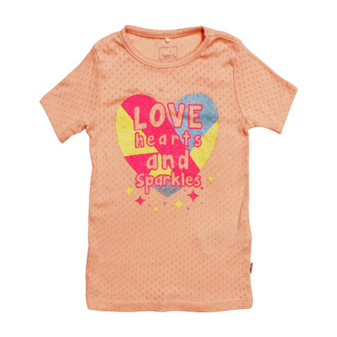 Name It love hearts & sparkles orange T-shirt