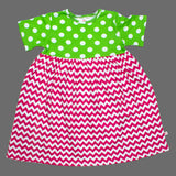 Lolly Wolly Pink ZigZag Green Polka Dots Girls Cotton Dress