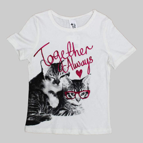 Together Always Glitter Print Cats White Girls Tshirt