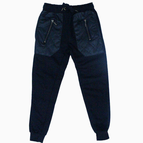 Black big pocket leather patch boys winter trouser