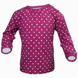 Polka Dot Girls Dark Pink shoulder buttons Tshirt