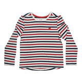 TU Embroidery Heart Blue And Red Stripes Girls Premium Cotton Tshirt