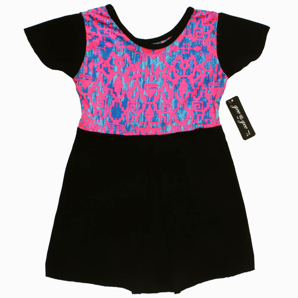 Gee Gee Pink and Blue Absract Poly Cotton Black Dress