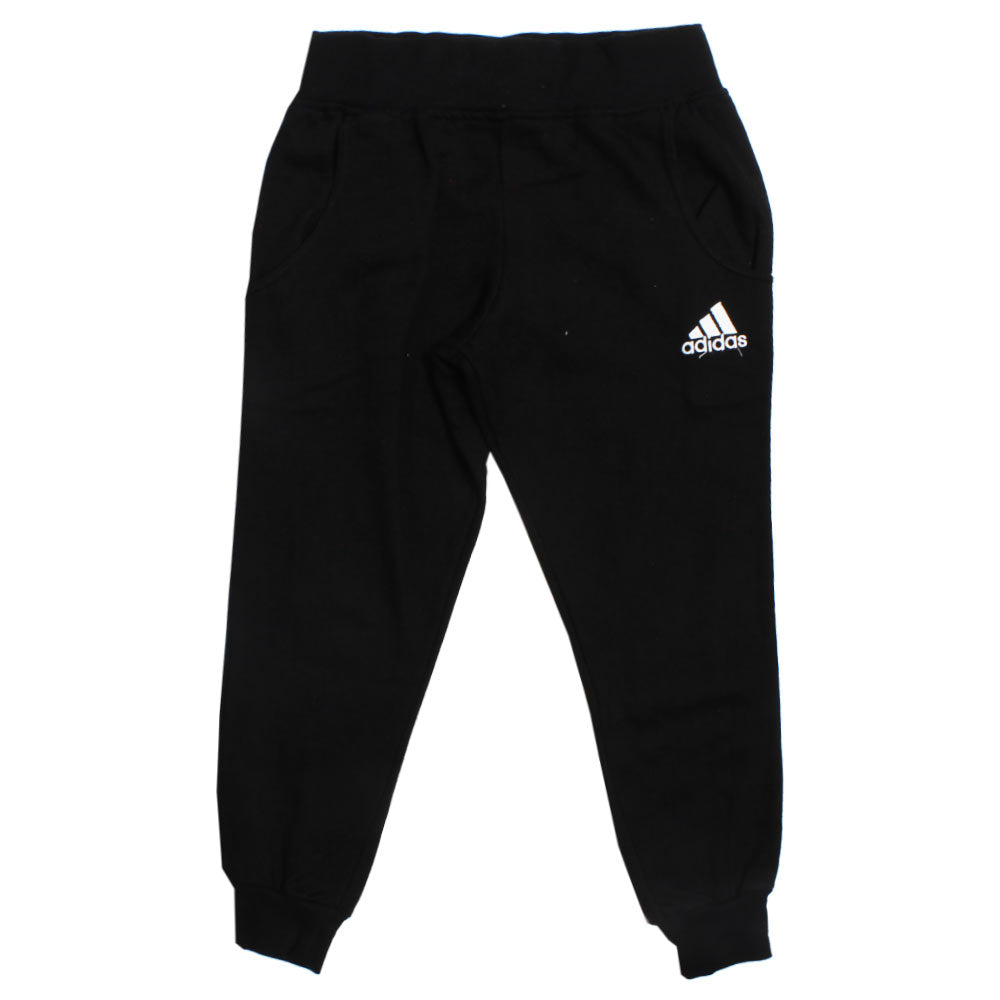 ADIDAS Black Embroidered Logo Bottom Ribbed Fleece Trouser