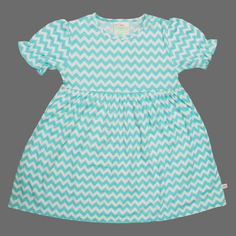 Lolly Wolly Light Blue Small Zig Zag Girls Cotton Dress