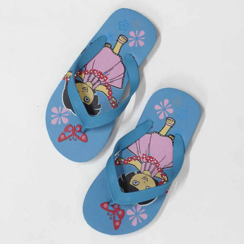Dora Butterfly Print Light Blue Rubber Flip Flops