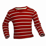 Red and White Stripes boys full sleeves t-shirt