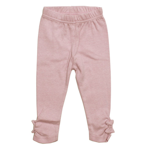 BABALUNO Side Bow Applique Pink Premium Cotton Legging