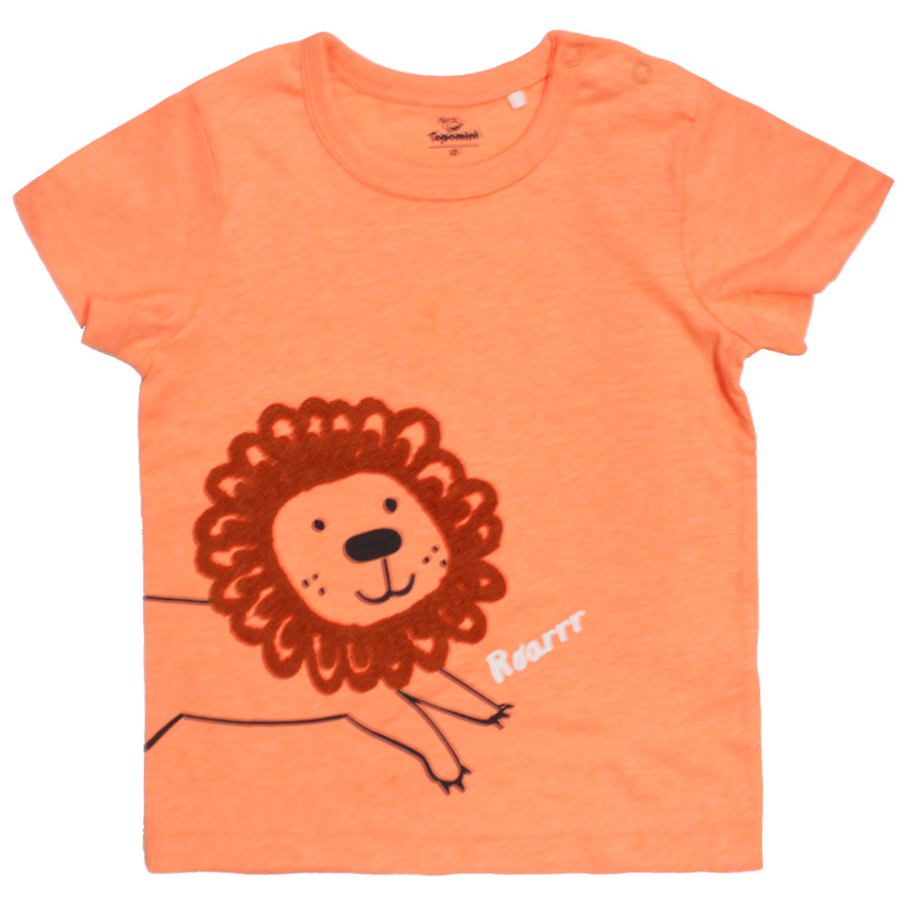 TOPOMINI Tiger Print Orange Boys Premium Cotton Tshirt