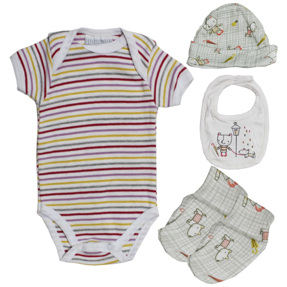 BONJOUR BEBE Red And Yellow Print White Cotton Romper 4 Piece Set