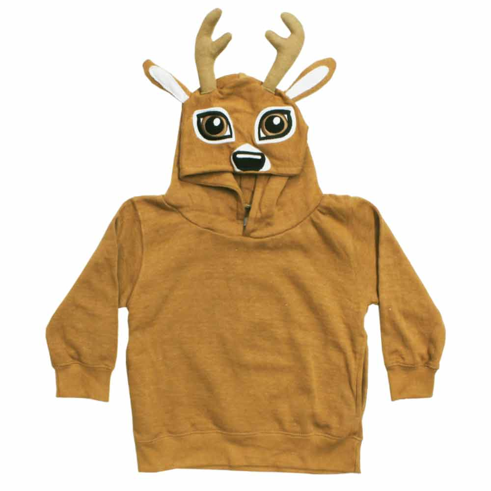 Deer Appliques Brown Cotton Fleece Fashion Hoodie