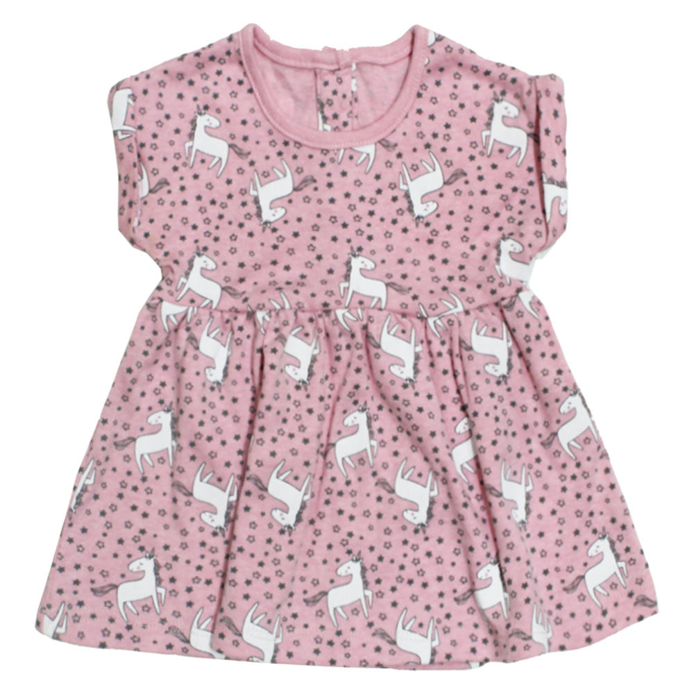 MATALAN All Over Unicorn Print Pink Girls Dress