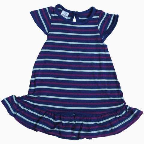 Zara navy blue white and maroon Stripes frock