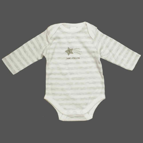 BABY CLUB Shine Little Star White and grey Stripes Cotton Romper