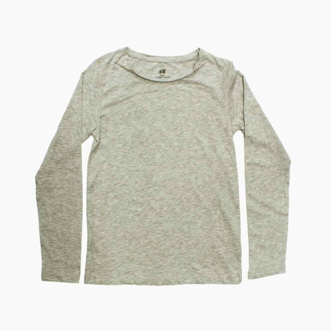HNM Organic Cotton Boys Grey Full Sleeves Premium Tshirt