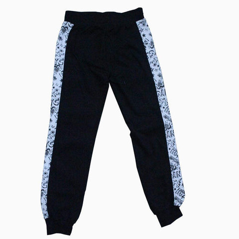 Leather front white printed pattern sides boys trouser