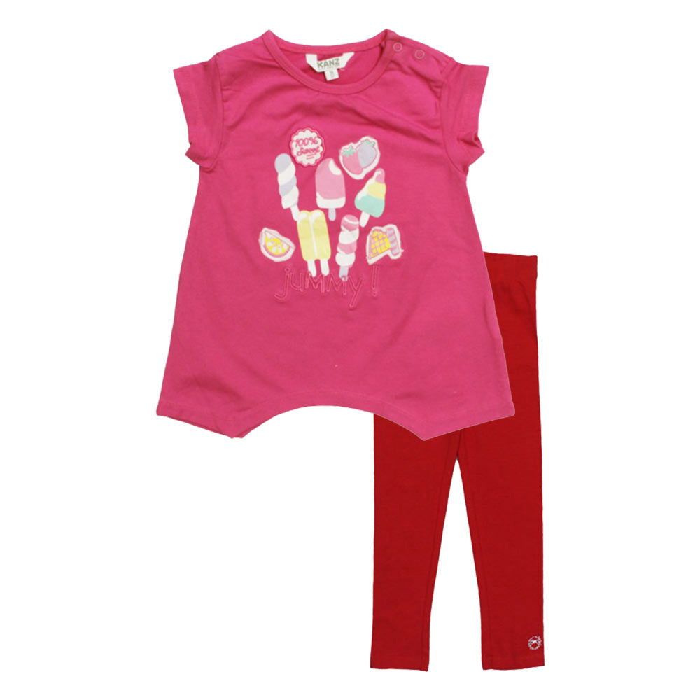 KANZ Jummy Pink Girls Premium Cotton 2 Piece Set