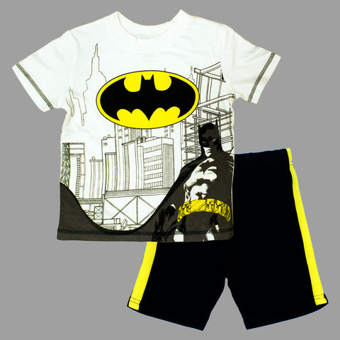 BatMan Chest Print White and Black Premium 2 Piece Set