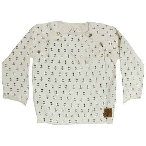 BROTES All Over Anchor Off White Cotton Sweater