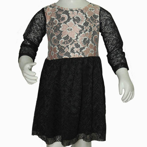 Orange flower Top Black net dress
