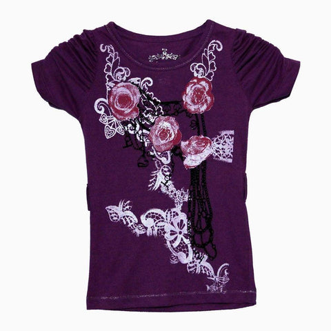 sugah & honey white & red flower magenta girls blouse