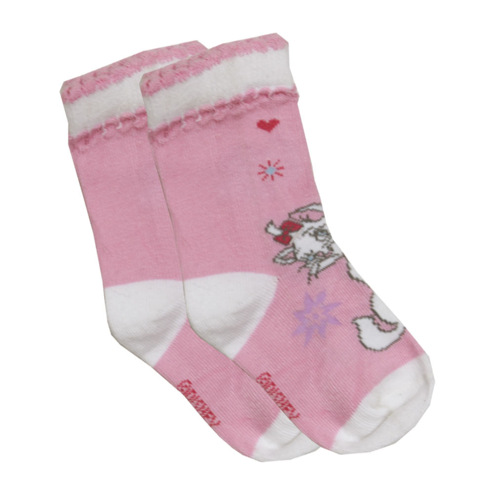 DISNEY Cat Print Pink Girls Cotton Socks