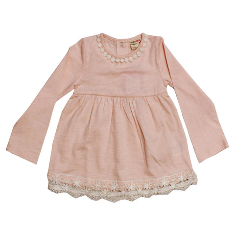PRENTAL Bottom Less Light Pink Girls Pink Premium Cotton Dress Shirt