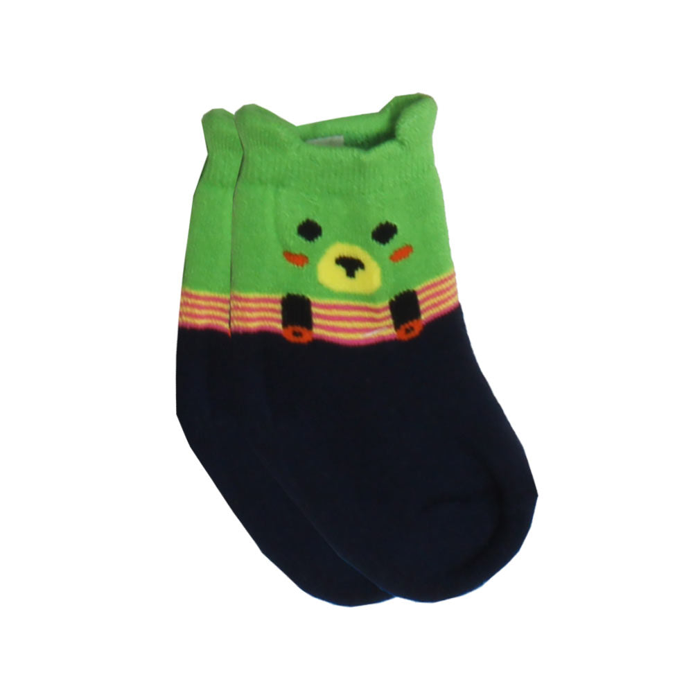 Green And Blue Bear Print Boys Cotton Socks