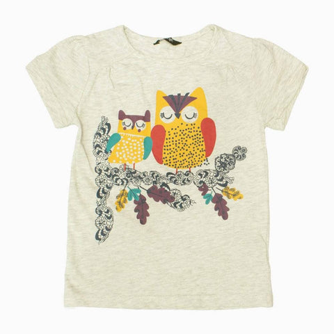 George Sleeping Owls Premium Girls Grey Tshirt