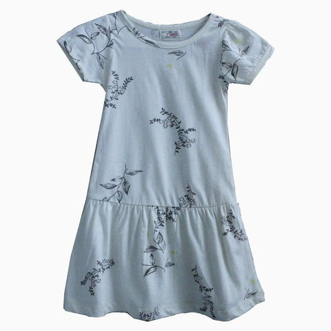 Next offwhite Leaf pattern girls dress