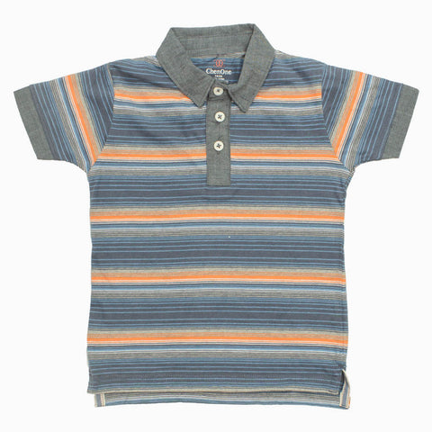 ChenOne Cotton Jersey yarn Dyed Blue and Orange Boys Polo