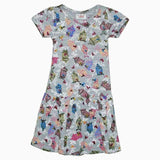 Next colourful bird print grey girls dress