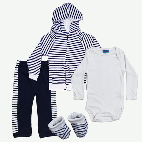 LILY and JACK Boys Blue and White Full Stripes Cotton 4 Piece Set