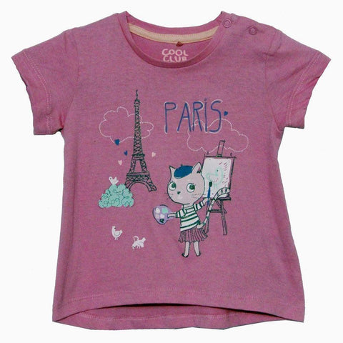 Cool Club Paris print Pink girls Tshirt